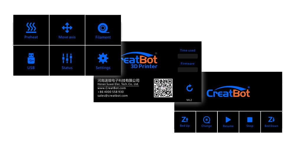 3D printer CreatBot F430 screen