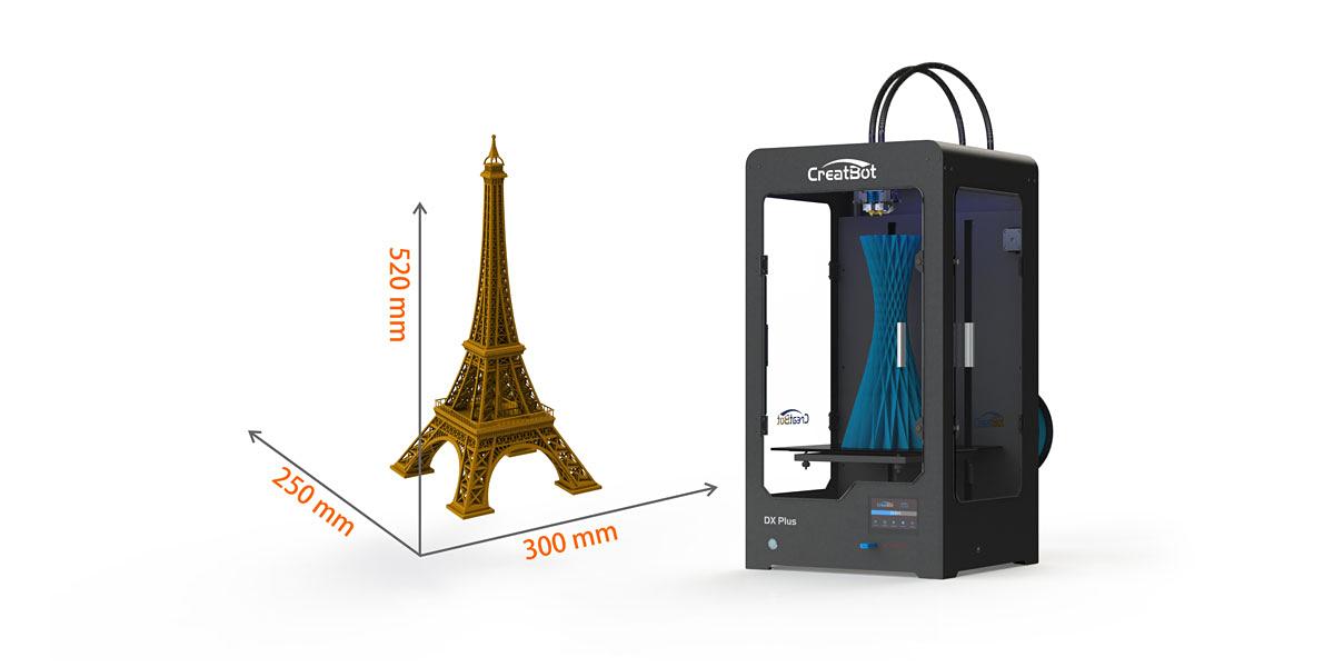 3D printer CreatBot DX Plus printing area